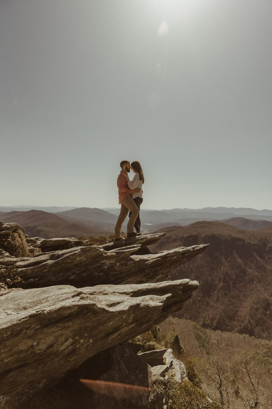 Adventure Engagement Session Photography Hawksbill Mountain NC